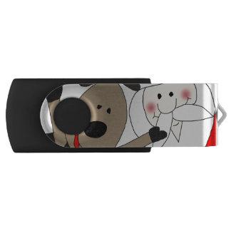 Jolly Santa and Reindeer #1 Swivel USB 2.0 Flash Drive