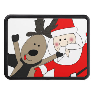 Jolly Santa and Reindeer #1 Trailer Hitch Cover