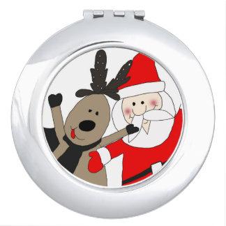 Jolly Santa and Reindeer #1 Travel Mirrors