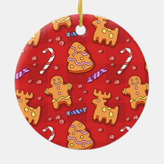 Jolly Santa Claus and Gingerbread Cookies Round Ceramic Ornament
