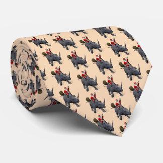 Jolly Santa Claus Rides A Rhinoceros Tie