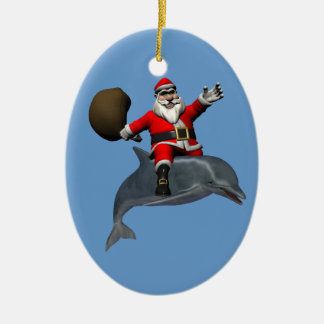 Jolly Santa Claus Riding On Dolphin Ceramic Ornament