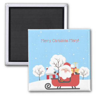 Jolly Santa in sleigh personalized Christms magnet