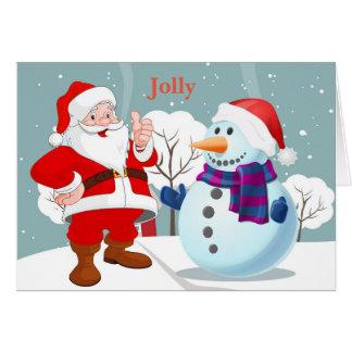 Jolly santa snowman on a snowbank card