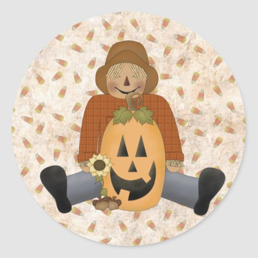 Jolly Scarecrow Round Stickers
