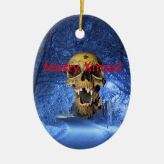 Jolly Scary Xmas Skull Ceramic Oval Ornament