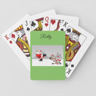 Jolly skating Santa reindeer playing cards