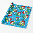 Jolly Smiling Brazilian Flag Christmas Style Wrapping Paper