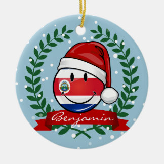 Jolly Smiling Christmas Costa Rican Flag Ceramic Ornament