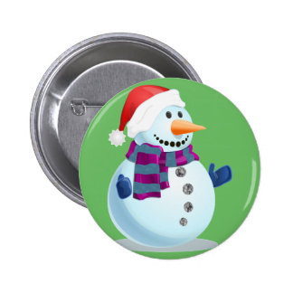 Jolly Snowman 2 Inch Round Button