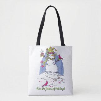 Jolly Snowman Christmas holiday tote bag