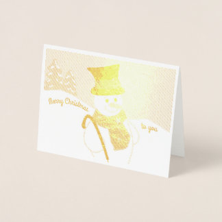 Jolly Snowman Foil Card