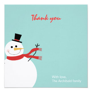Jolly Snowman Holiday Thank You Card