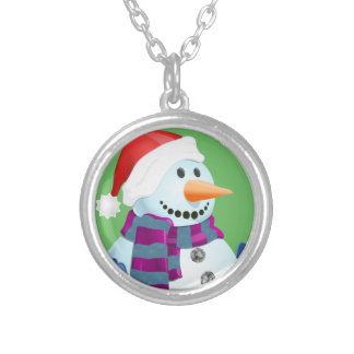 Jolly Snowman Silver Plated Necklace