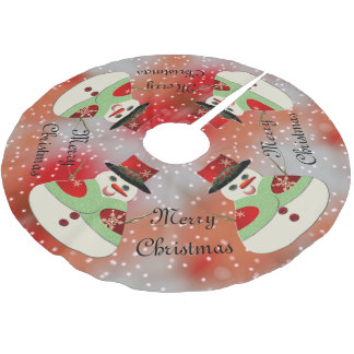 Jolly Snowman Snowy Dreams Brushed Polyester Tree Skirt