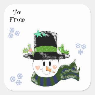 Jolly Snowman Square Sticker