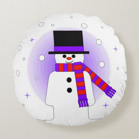 Jolly Snowman with Top Hat and Scarf Round Pillow