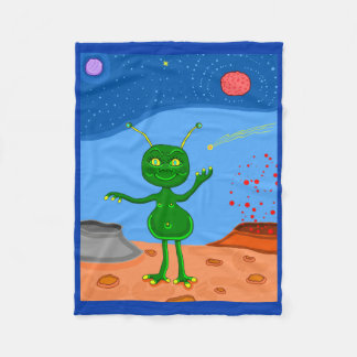 Jolly the Cute Alien Fleece Blanket