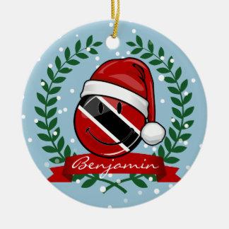 Jolly Trinidad Flag Christmas Style Ceramic Ornament