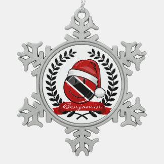 Jolly Trinidad Flag Christmas Style Snowflake Pewter Christmas Ornament