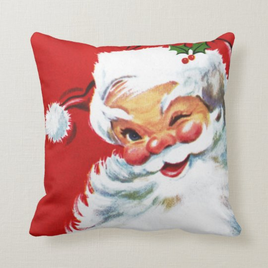 Jolly vintage winking Santa Pillow