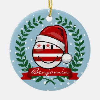 Jolly Washhington DC Flag Smiley Christmas Round Ceramic Ornament