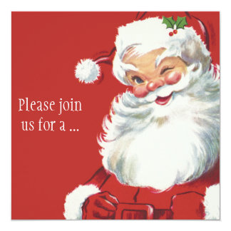 "Jolly Winking Santa Claus, Vintage Christmas 5.25"" Square Invitation Card"