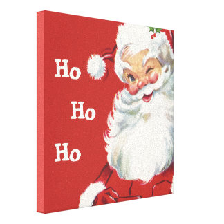 Jolly Winking Santa Claus, Vintage Christmas Stretched Canvas Print
