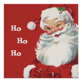 Jolly Winking Santa Claus, Vintage Christmas Poster