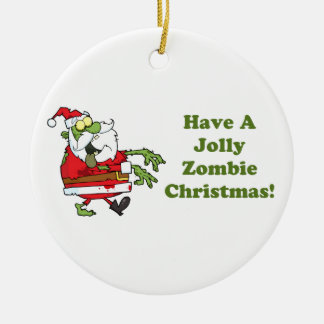 Jolly Zombie Christmas Round Ceramic Ornament