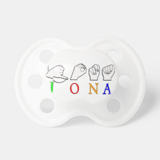 JONA ASL FINGERSPELLED NAME SIGN BABY PACIFIERS
