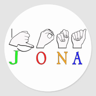 JONA ASL FINGERSPELLED NAME SIGN CLASSIC ROUND STICKER