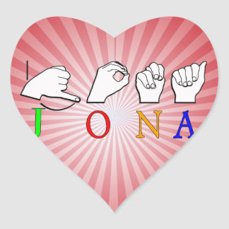 JONA ASL FINGERSPELLED NAME SIGN HEART STICKER