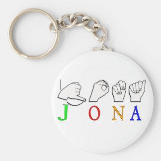 JONA ASL FINGERSPELLED NAME SIGN KEYCHAIN