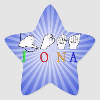 JONA ASL FINGERSPELLED NAME SIGN STAR STICKER