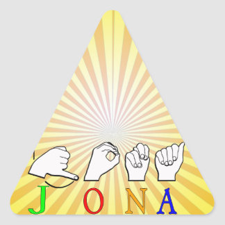 JONA ASL FINGERSPELLED NAME SIGN TRIANGLE STICKER
