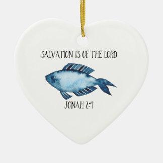 Jonah 2:9 ceramic heart ornament