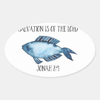 Jonah 2:9 oval sticker