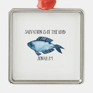 Jonah 2:9 Silver-Colored square ornament