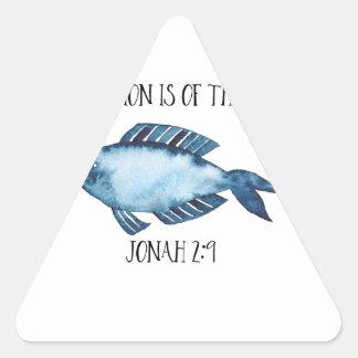 Jonah 2:9 triangle sticker
