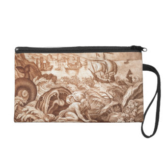 Jonah and the Whale, illustration from a Bible, en Wristlet Clutch