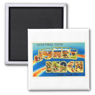 Jones Beach New York NY Vintage Travel Souvenir Square Magnet