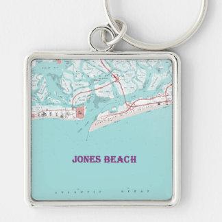 Jones Beach New York Silver-Colored Square Keychain