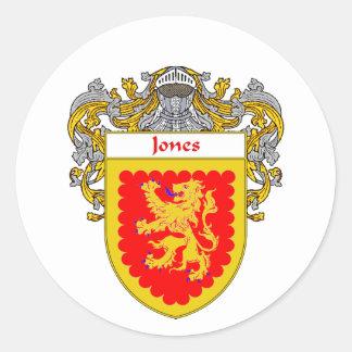 Jones Irish Coat of Arms (Mantled) Round Sticker