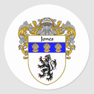 Jones Welsh Coat of Arms (Mantled) Round Sticker
