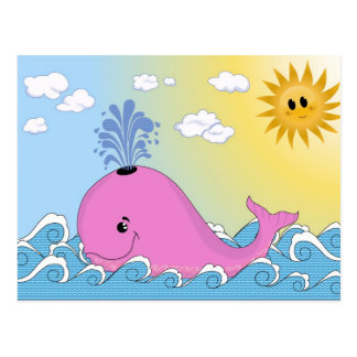 Jonny, the pink whale postcard