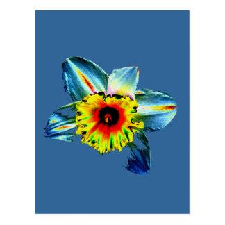 Jonquille au néon colorée carte postale