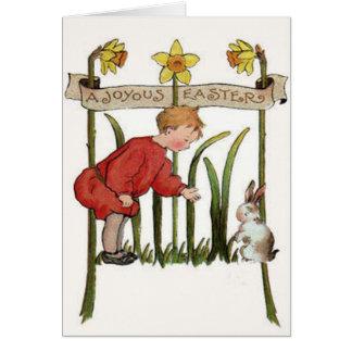 Jonquille Jonquil de lapin de Pâques de garçon Carte De Vœux