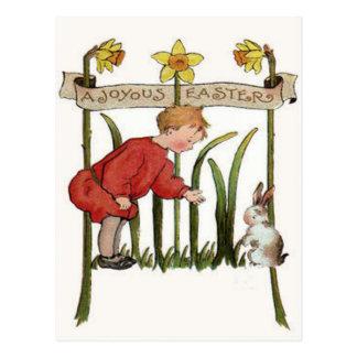 Jonquille Jonquil de lapin de Pâques de garçon Carte Postale