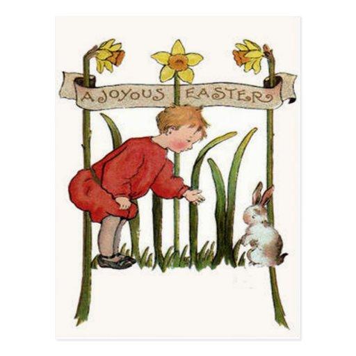 Jonquille Jonquil de lapin de Pâques de garçon Cartes Postales